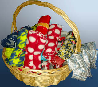 Basket of fleece scarves