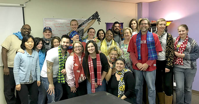 Business students with their scarves from Terrie