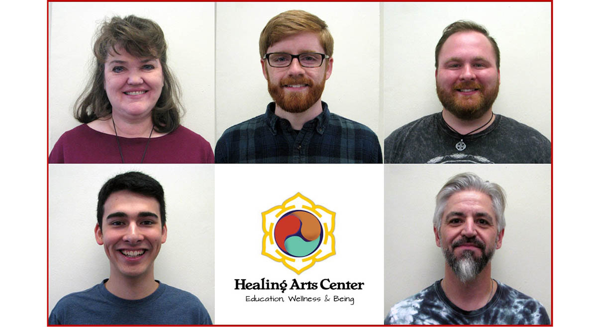 photos of the 5 graduates being inducted into the Order of Twin Hearts, along with the Healing Arts Center logo